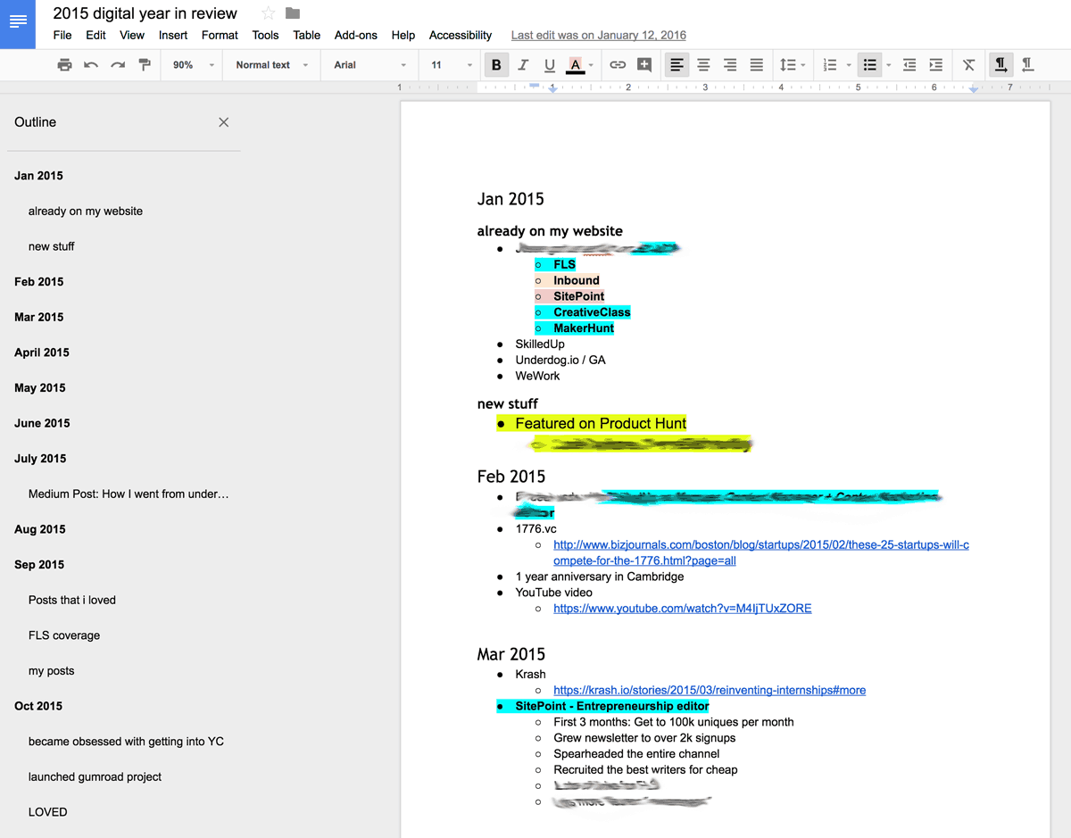 Google doc braindump of a year in review including successes and failures