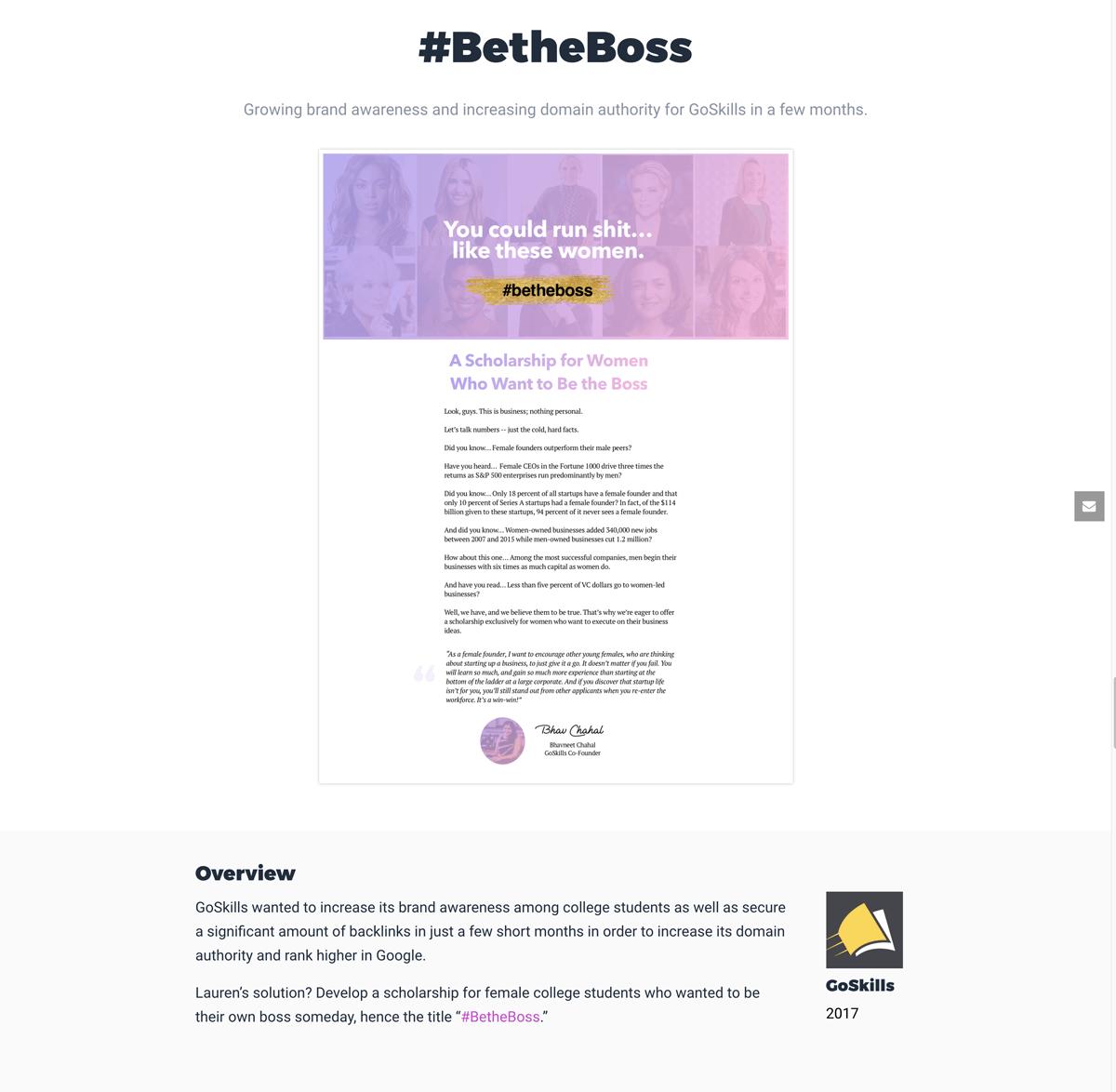 case study, #BetheBoss website