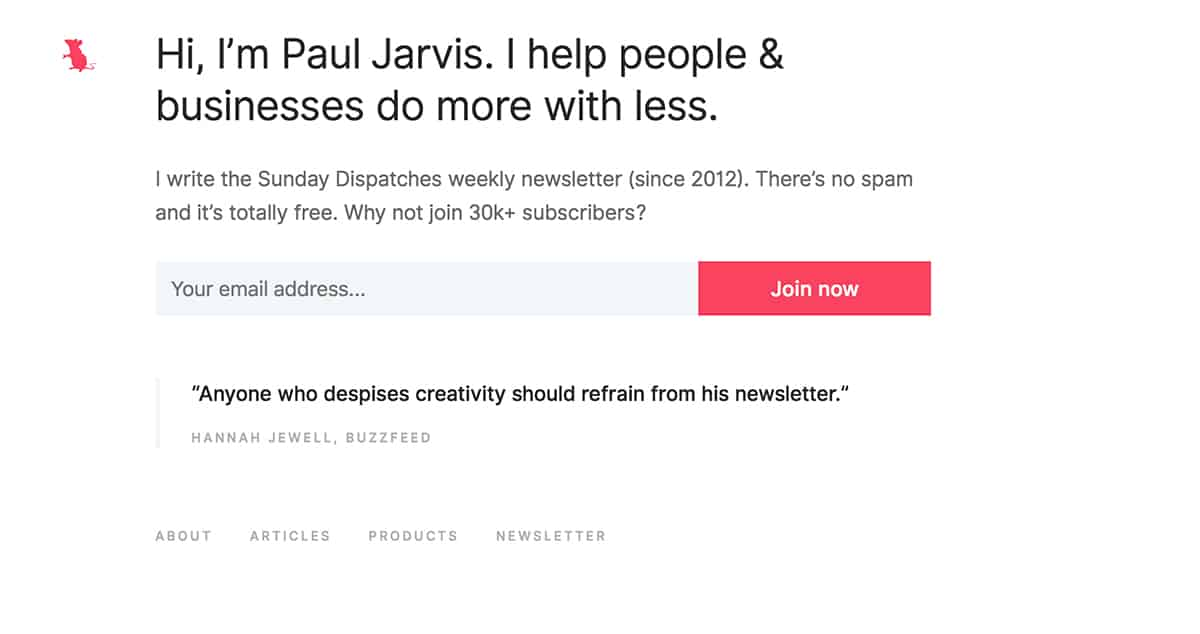 simple online portfolio of Paul Jarvis