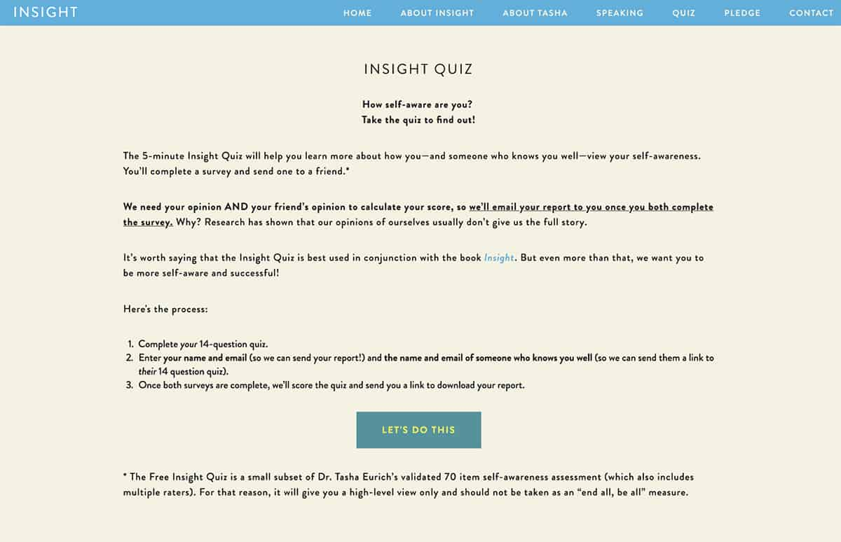 Insight Quiz website