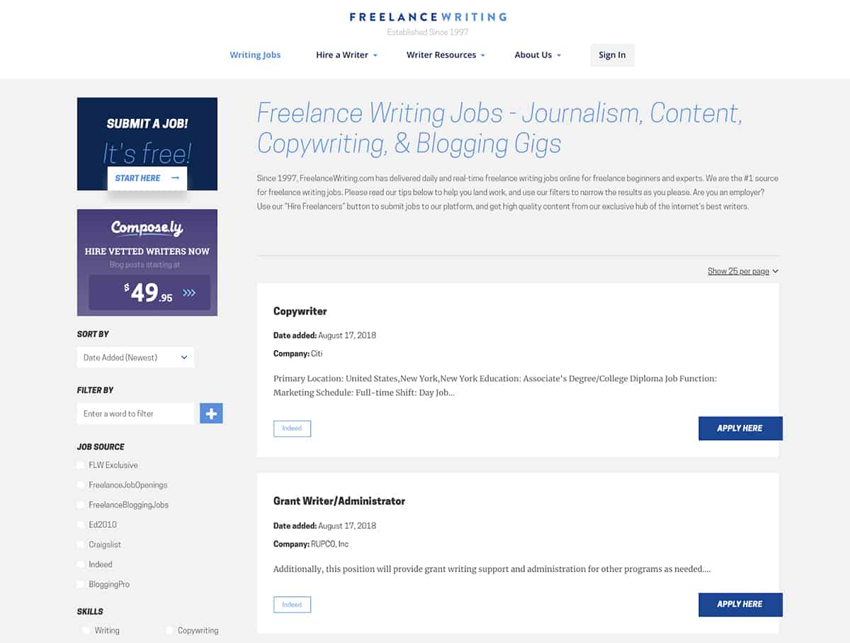 Freelance Writing Jobs website