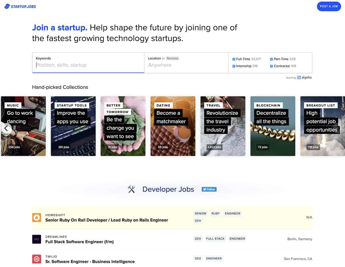 Startup Jobs website