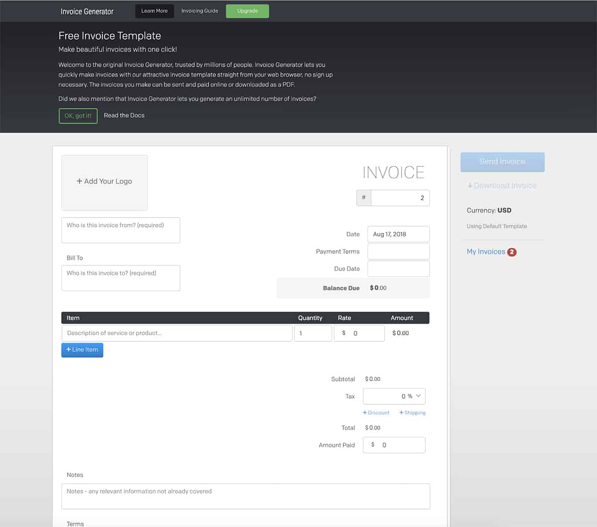 Invoice Generator website