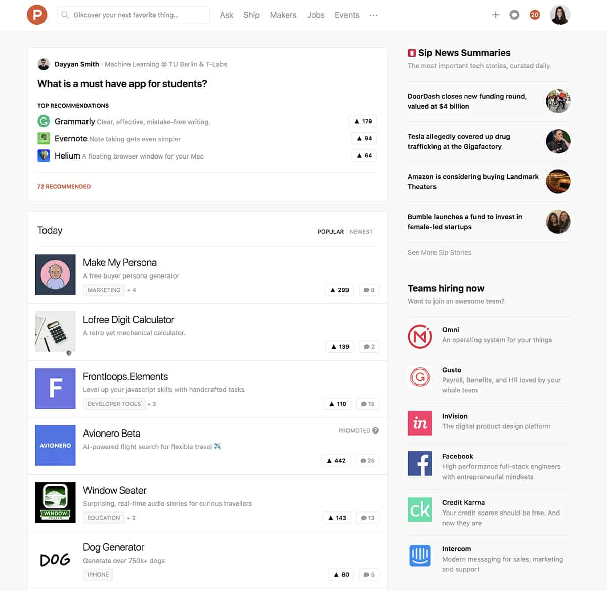 Product Hunt website