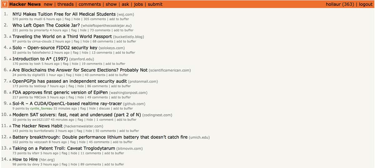Hacker News website