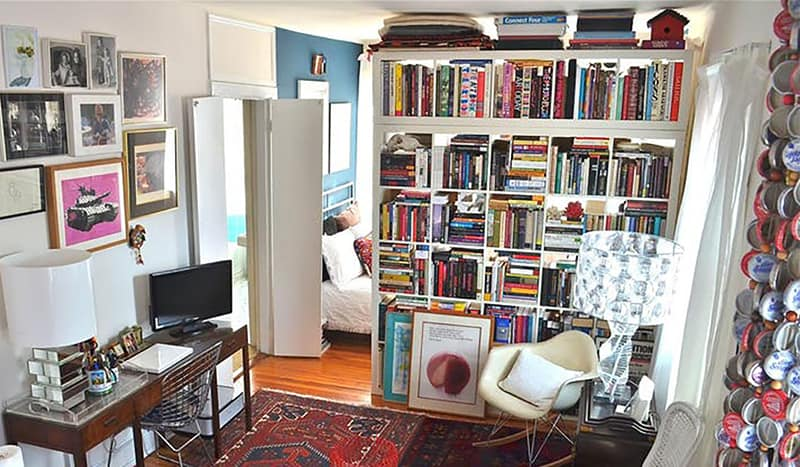 using bookshelf dividers to create privacy in small space