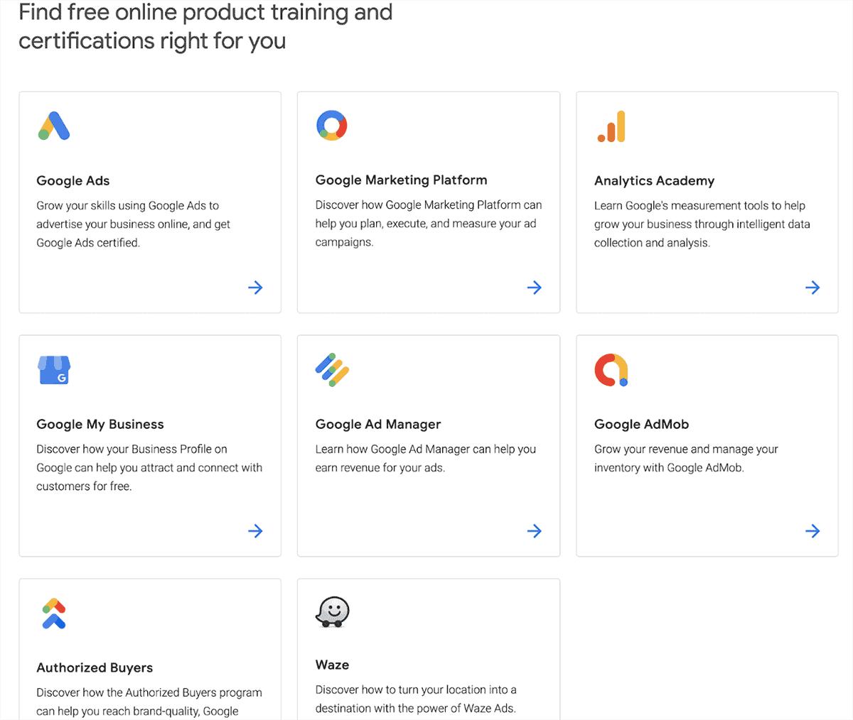 Google Skillshop offerings