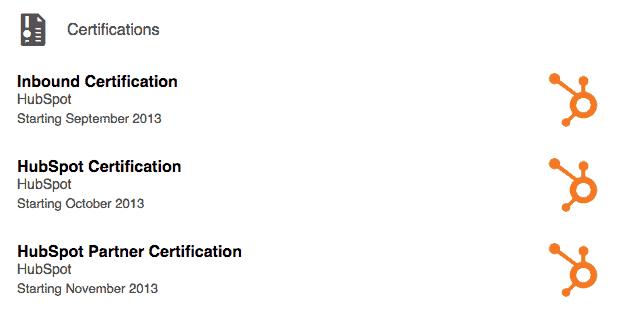 Hubspot certification badges