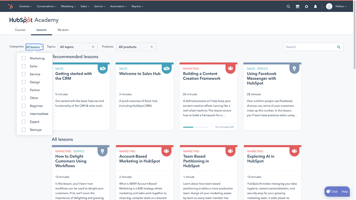 Hubspot Academy recommended lessons