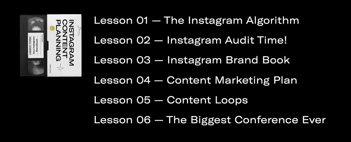 Instagram Content Planning Course lessons