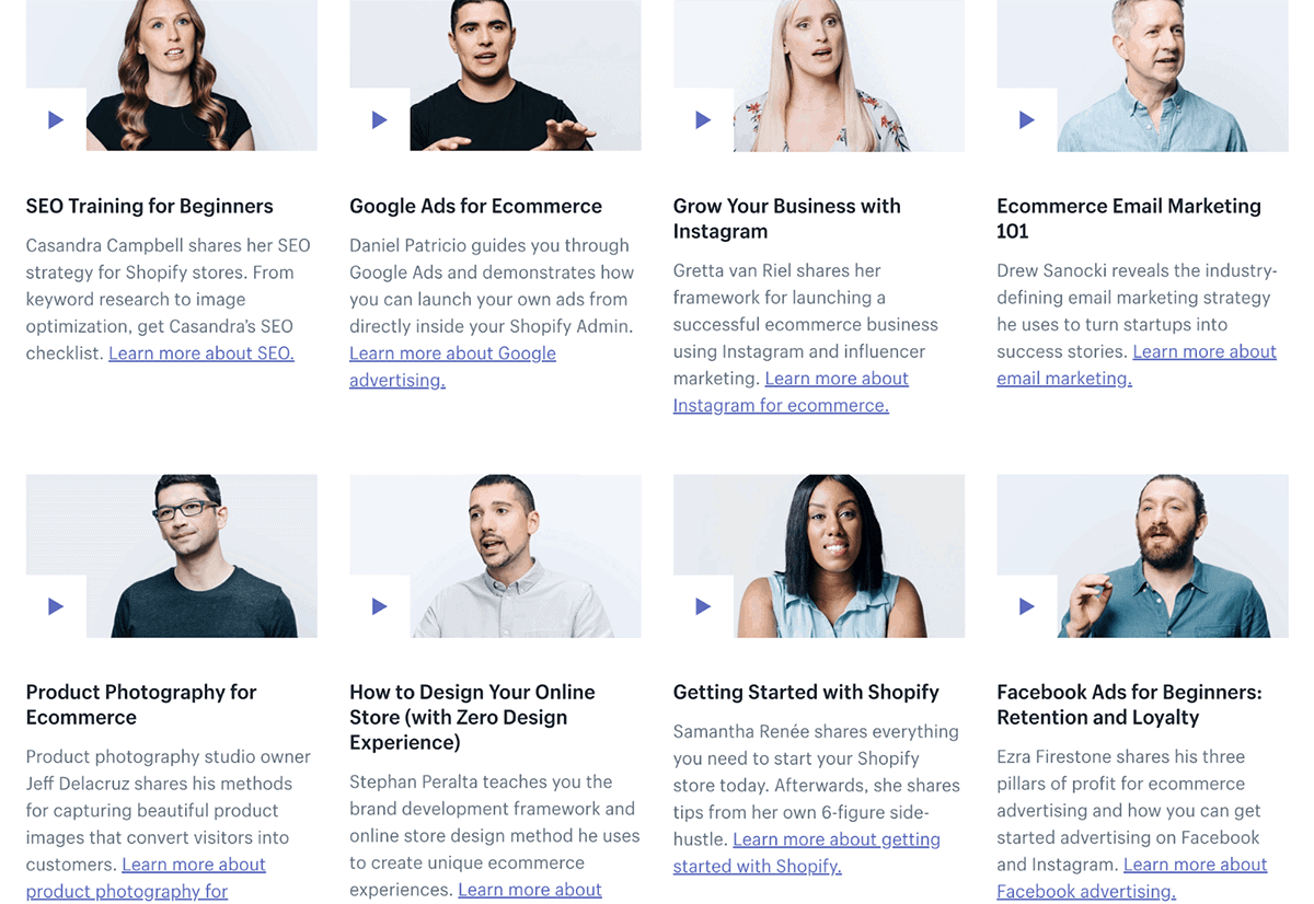 Shopify Academy offerings
