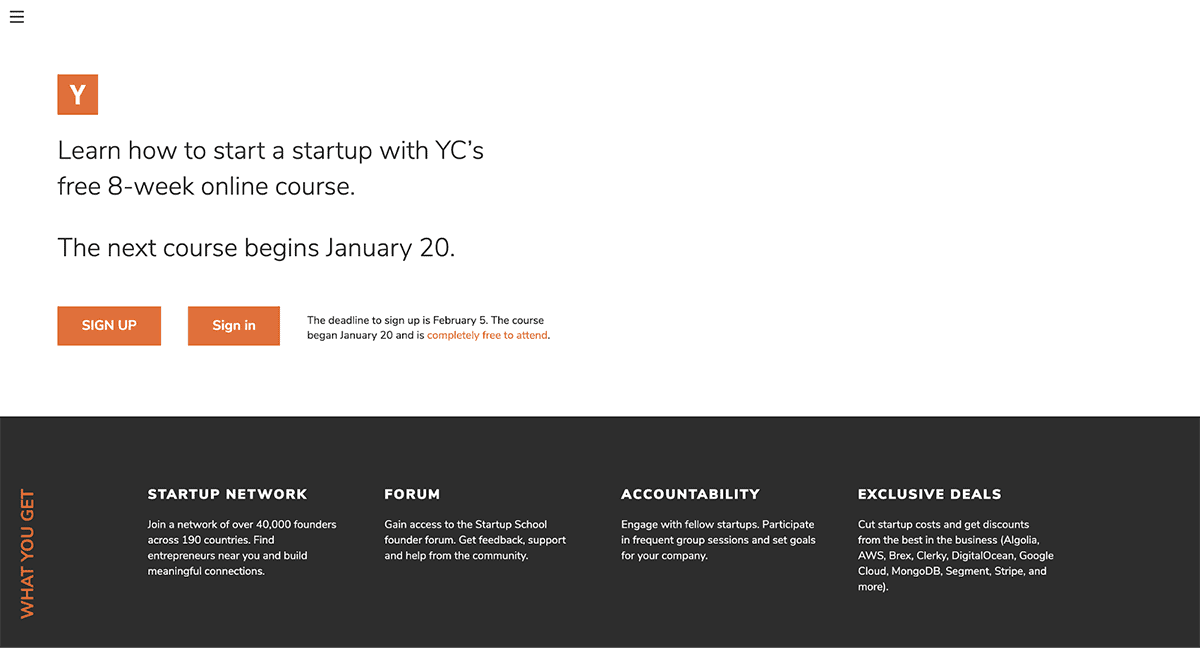 Startup School - Learn how to start a startup with YC's free 8-week online course.