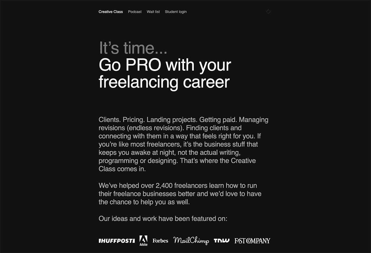 The Creative Class - It's time...Go pro with your freelancing career