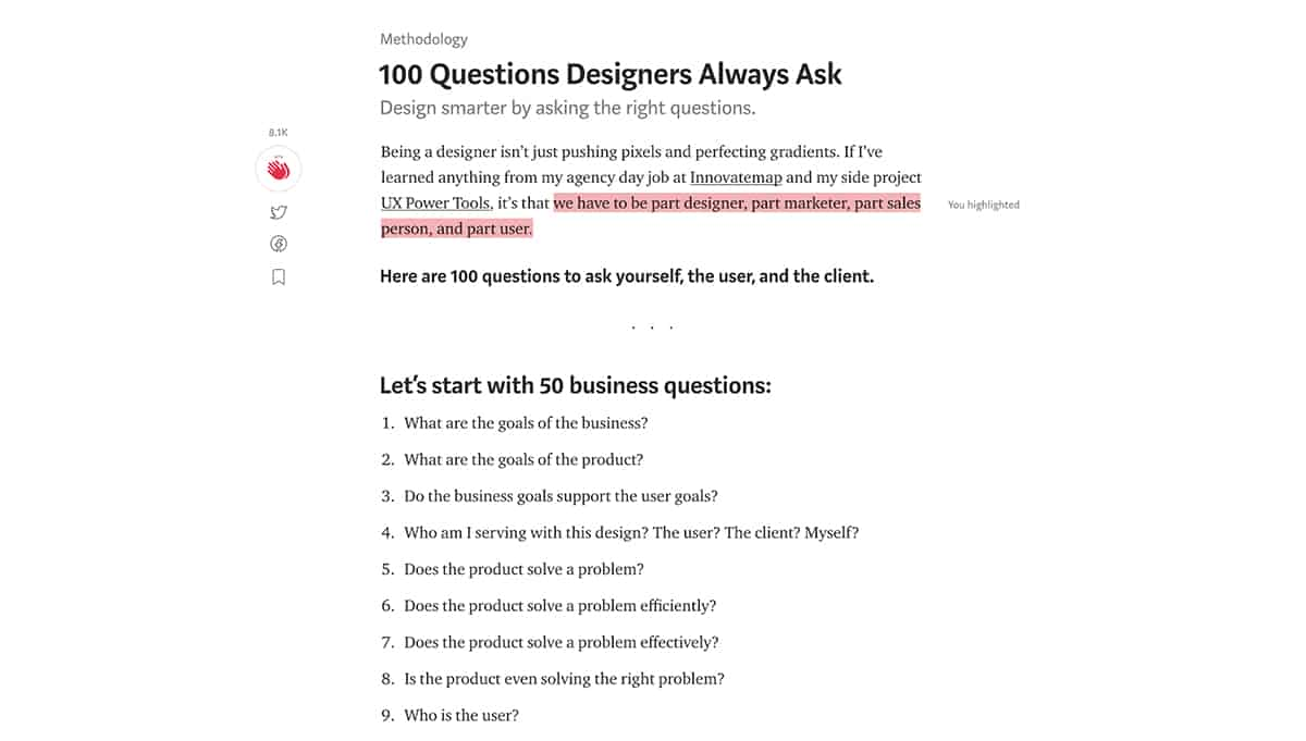 100 Questions Designers Always Ask Medium post