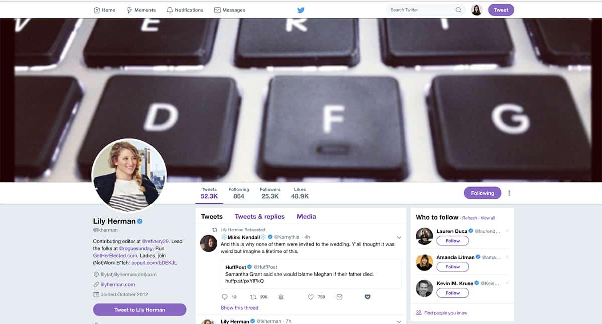 Lily Herman's Twitter bio