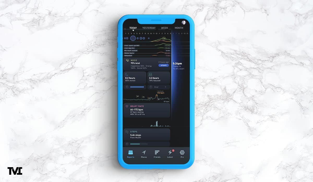 phone with Gyroscope app showing personal data
