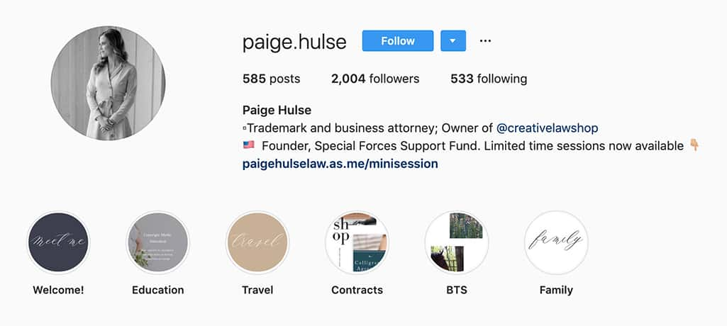 example of Paige Hulse's instagram profile that shows where she works (owner of @creativelawshop)