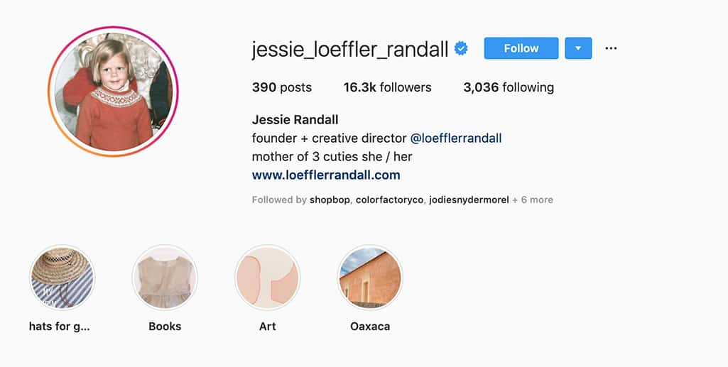Example of Jessie Randall's Instagram profile showing she is founder and creative director