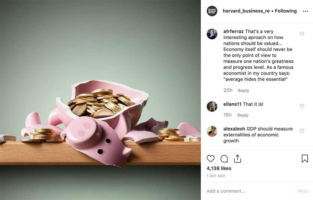 broken piggy bank with coins spilling out. Instagram post by harvard_business_review.