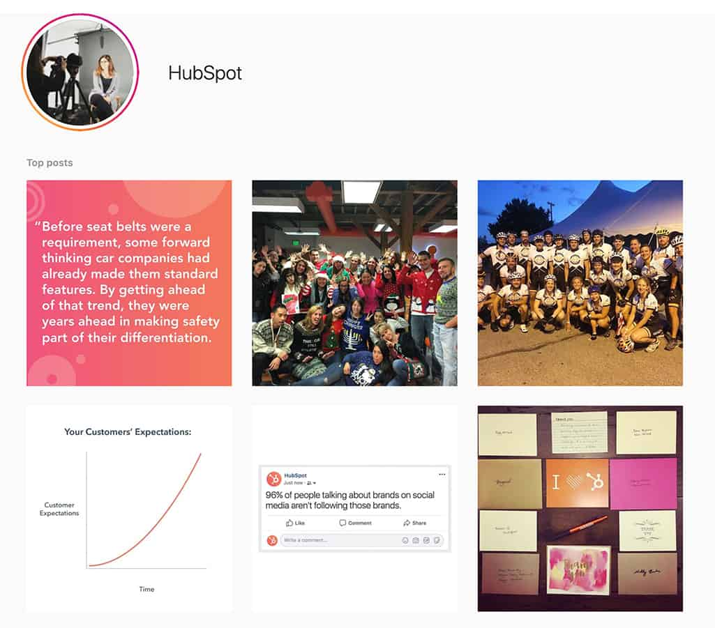 Hubspot Instagram page