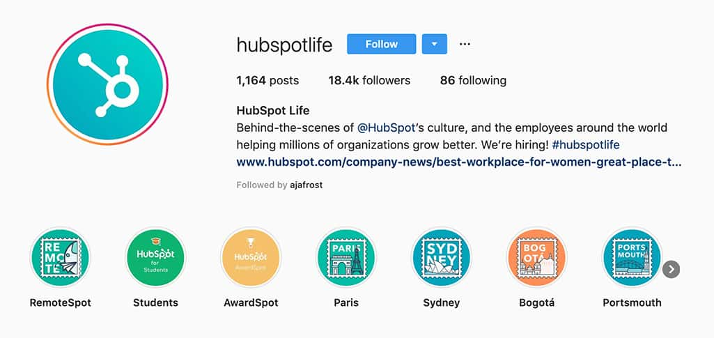 hupspotlife account on Instagram is the behind-the-scenes look at HubSpot's culture and employees