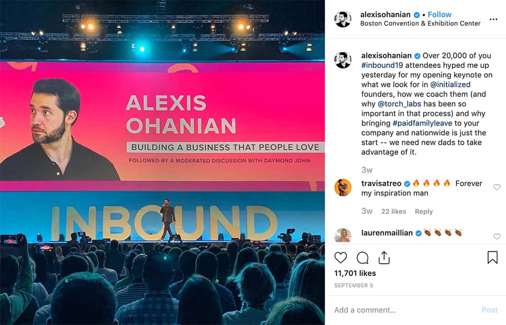Alexis Ohanian on stage and speaking at Hubspot's Inbound conference