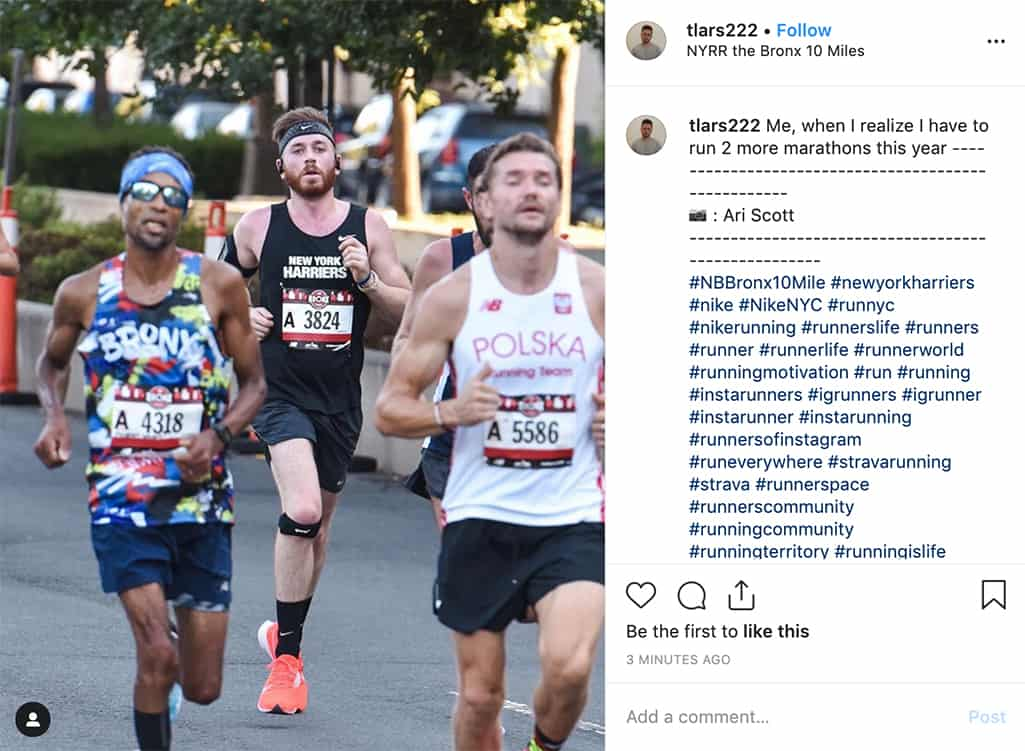 tlars222 posts a photo of himself running in a race