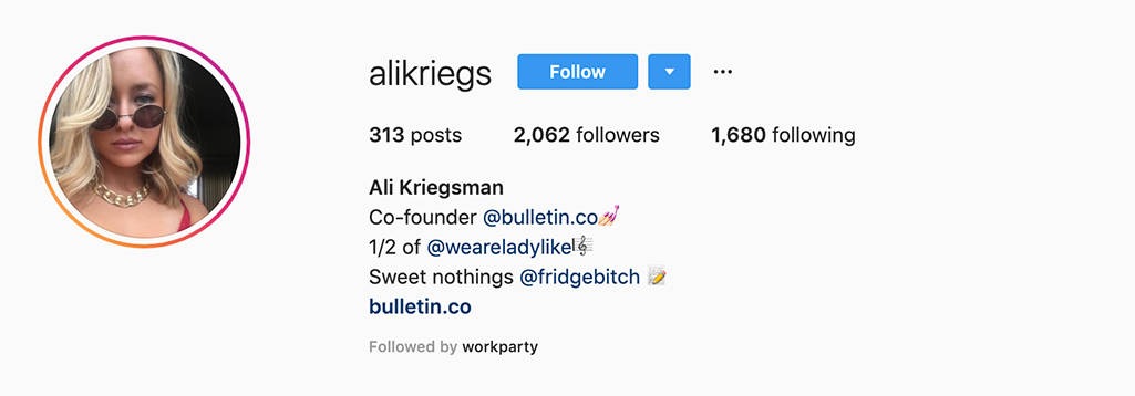 Example of Ali Kriegsman's Instagram profile showing her side projects