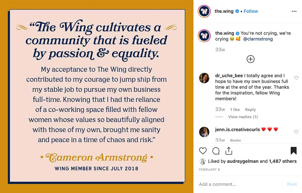 the.wing posts a powerful testimonial about their supportive coworking space and community