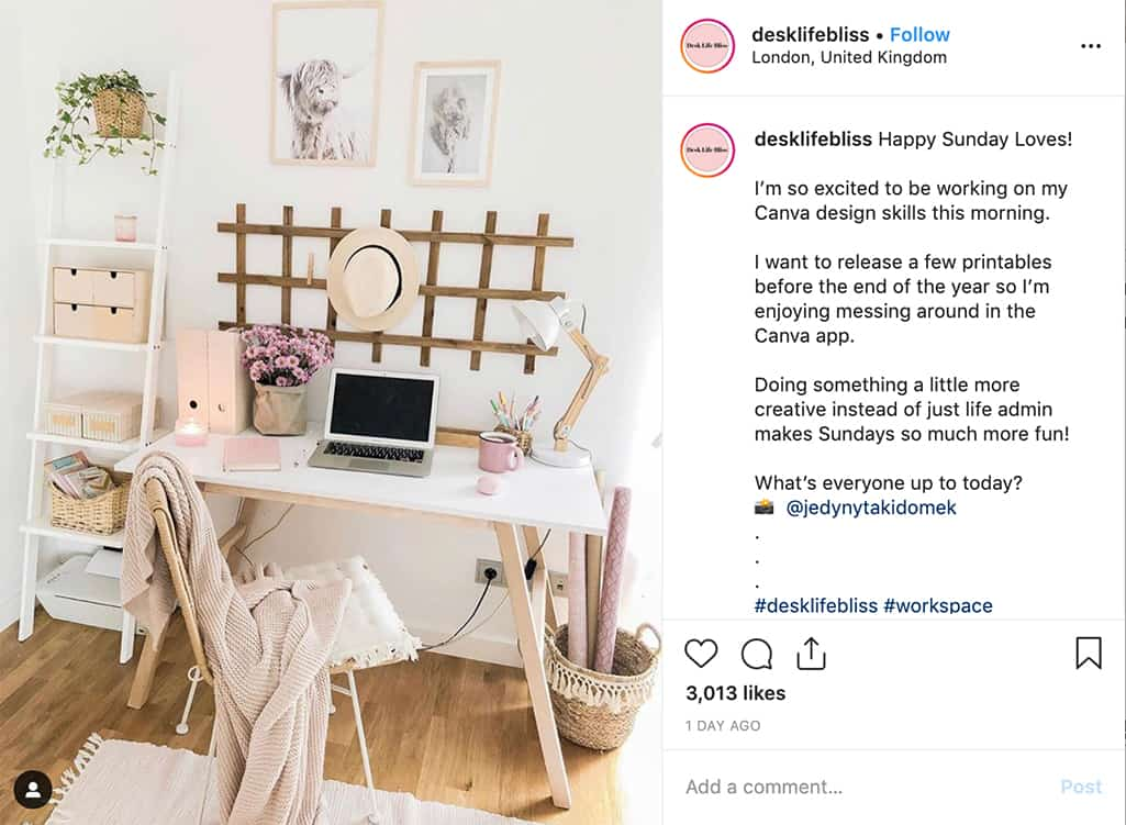 Cute workspace of desklifebliss showing her desk, computer, shelf, and decor