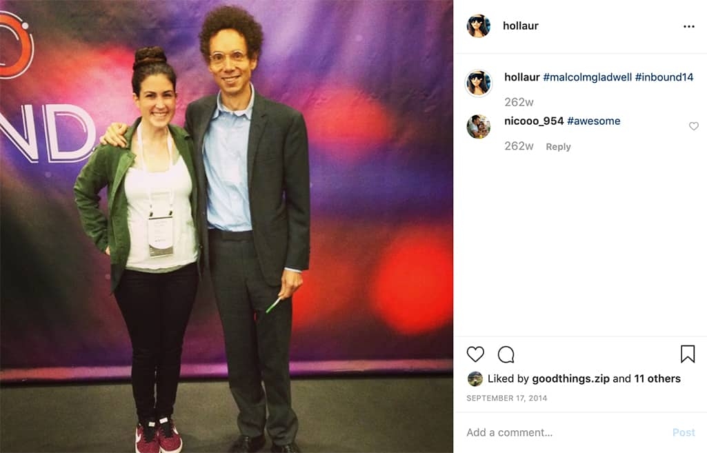 Lauren Holliday, author of this post, pictured with Malcolm Gladwell