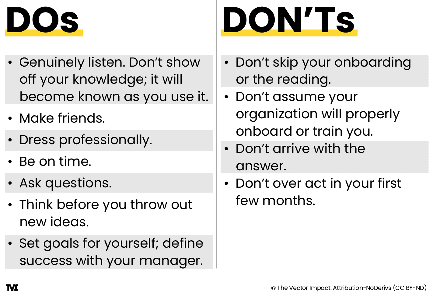 chart of dos and don'ts for starting a new job