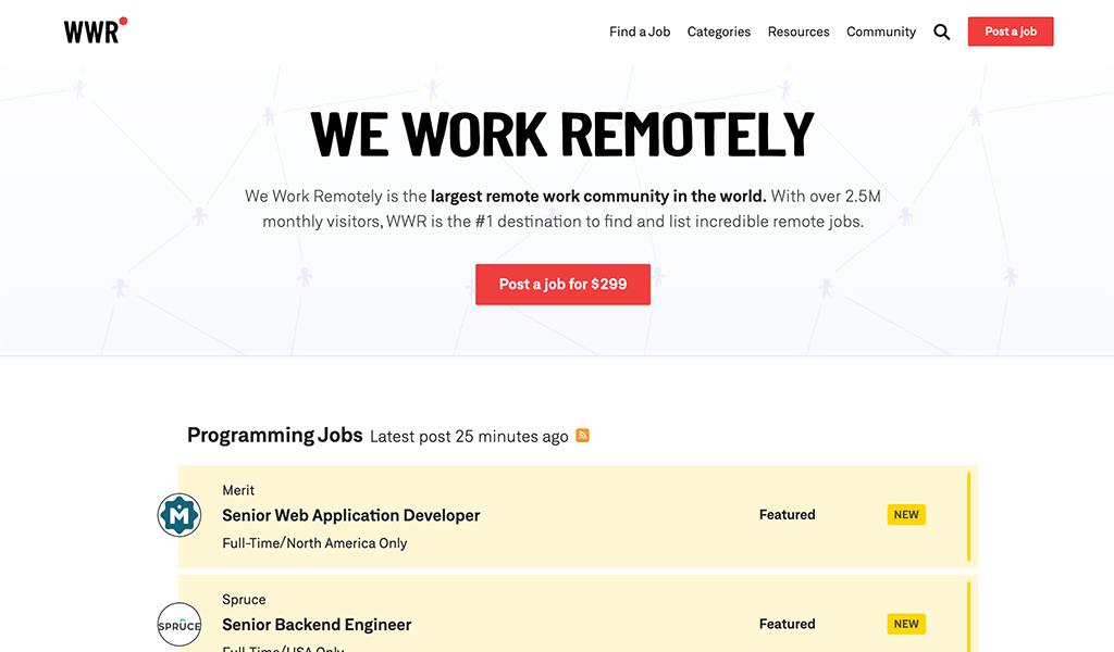 We Work Remotely website