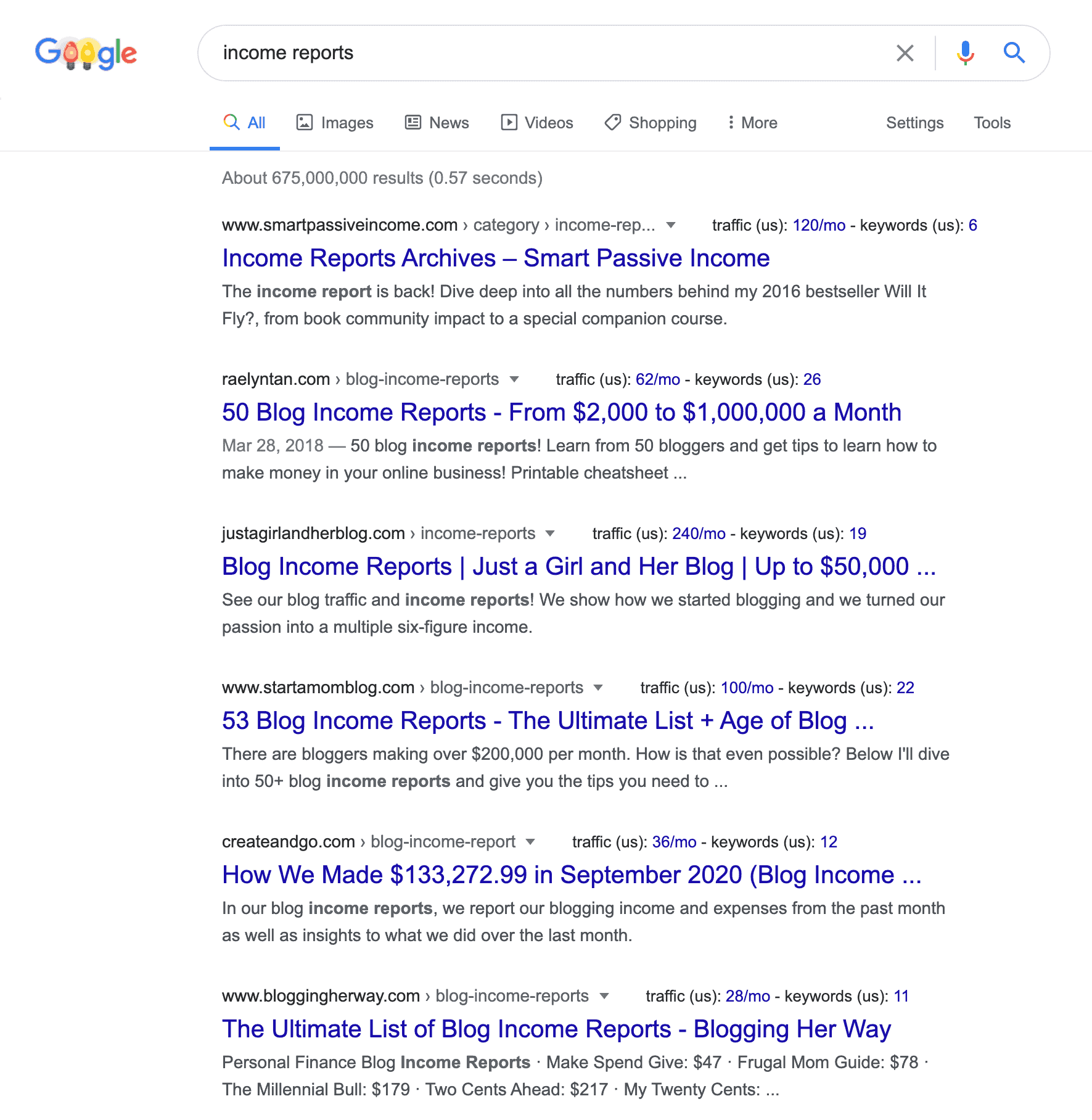"""Google search results for """"income reports"""""""