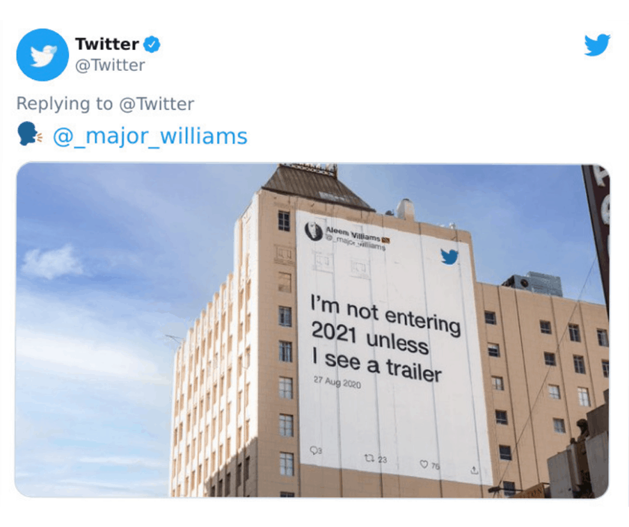 """Tweet on building, """"I'm not entering 2021 unless I see a trailer."""""""
