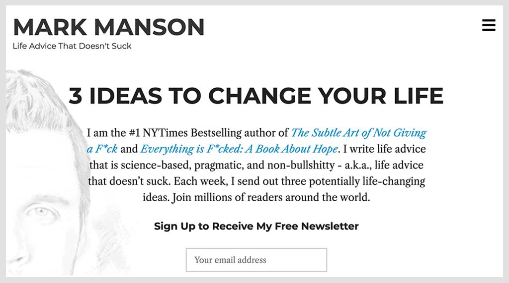 Mark Manson website