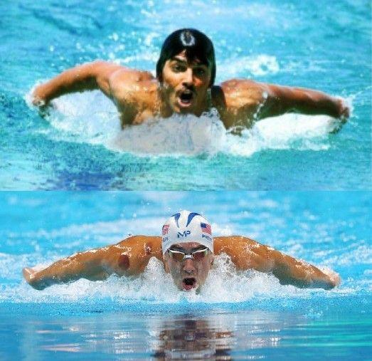 side-by-side comparison photo of Mark Spitz and Michael Phelps swimming the butterfly