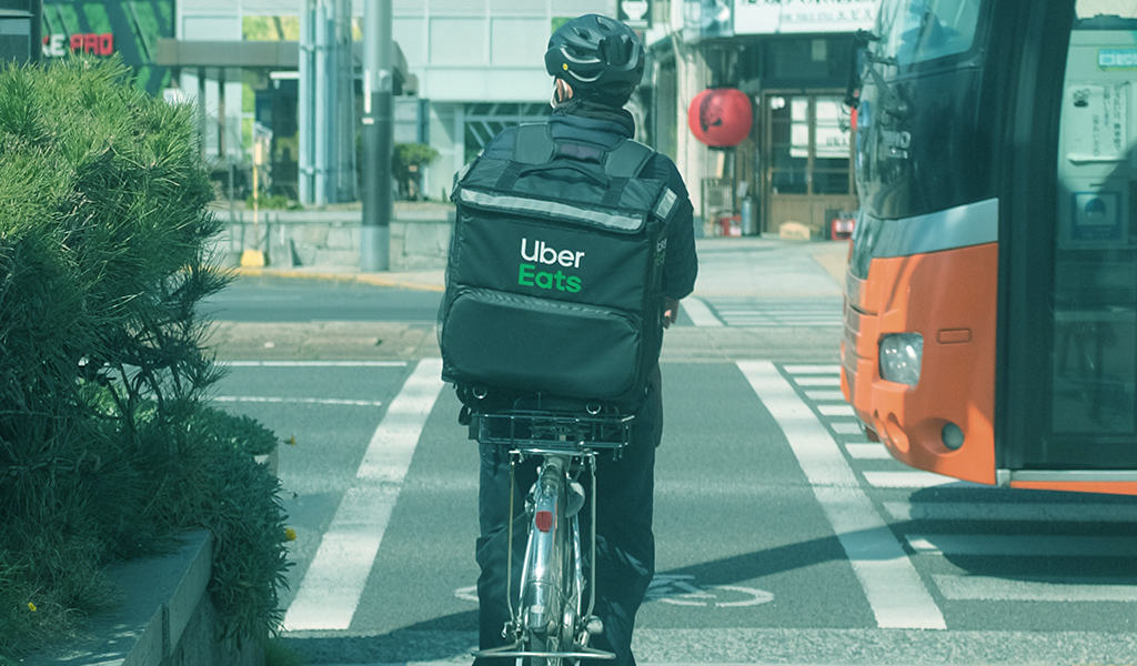 Uber Eats bicycle delivery driver