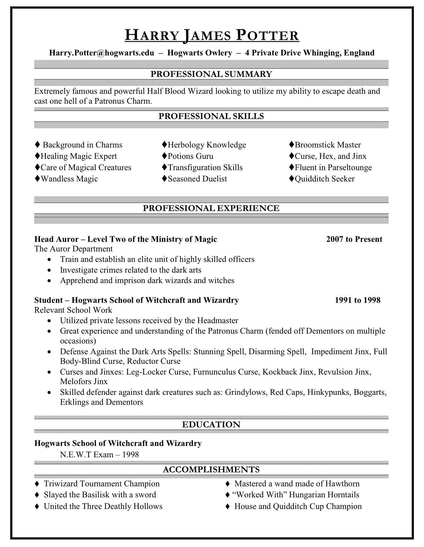 Harry Potter's hypothetical resume