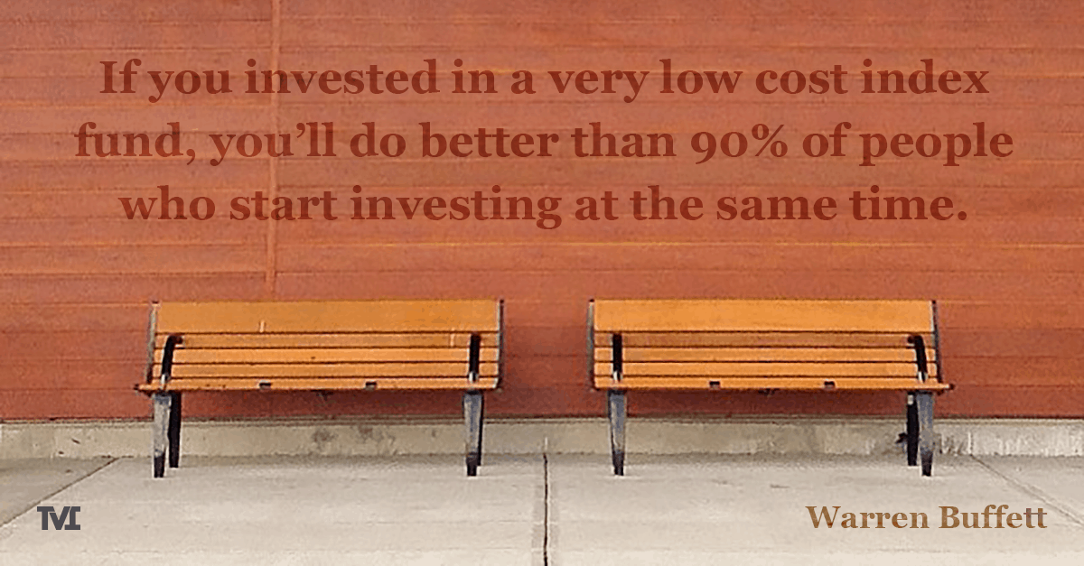 "Warren Buffett quote on a wall above two benches: ""If you invested in a very low cost index fund, you'll do better than 90% of people who start investing at the same time."""