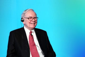 Warren Buffett with a gradient blue background