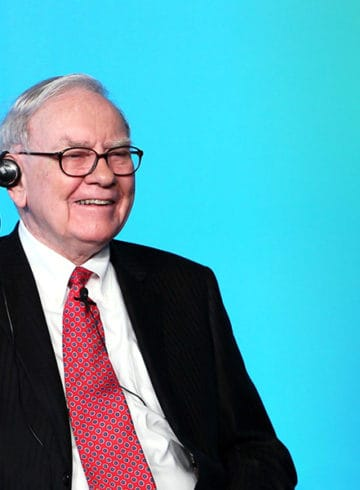 Warren Buffett with a gradient blue background