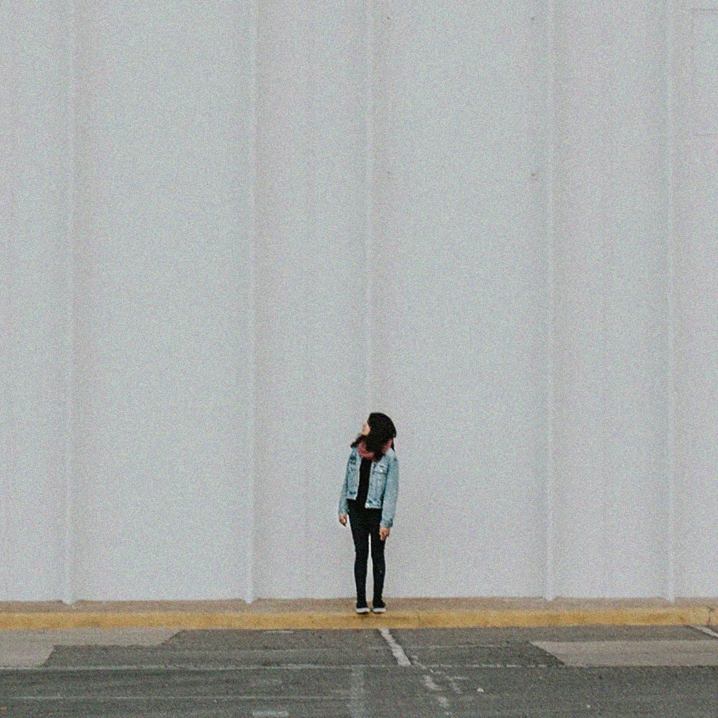 girl looking up, alone