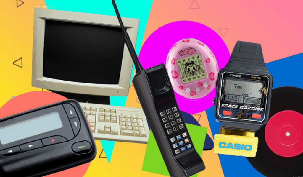 Old computer, pager, cordless phone, watch, record player, toy