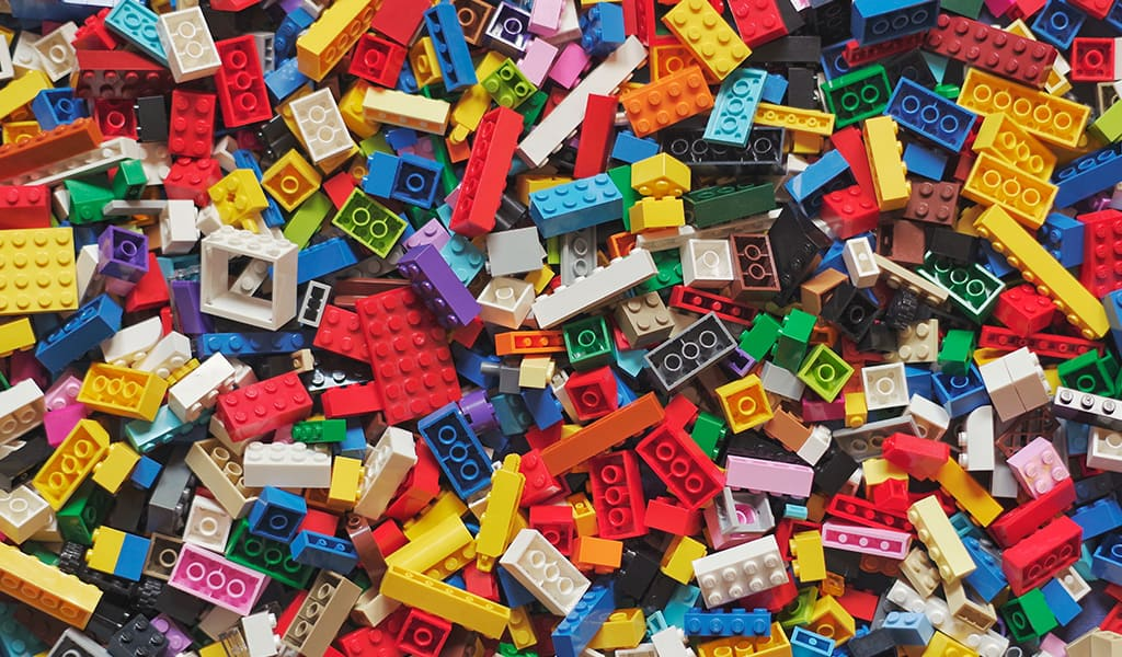 a large amount of colorful legos