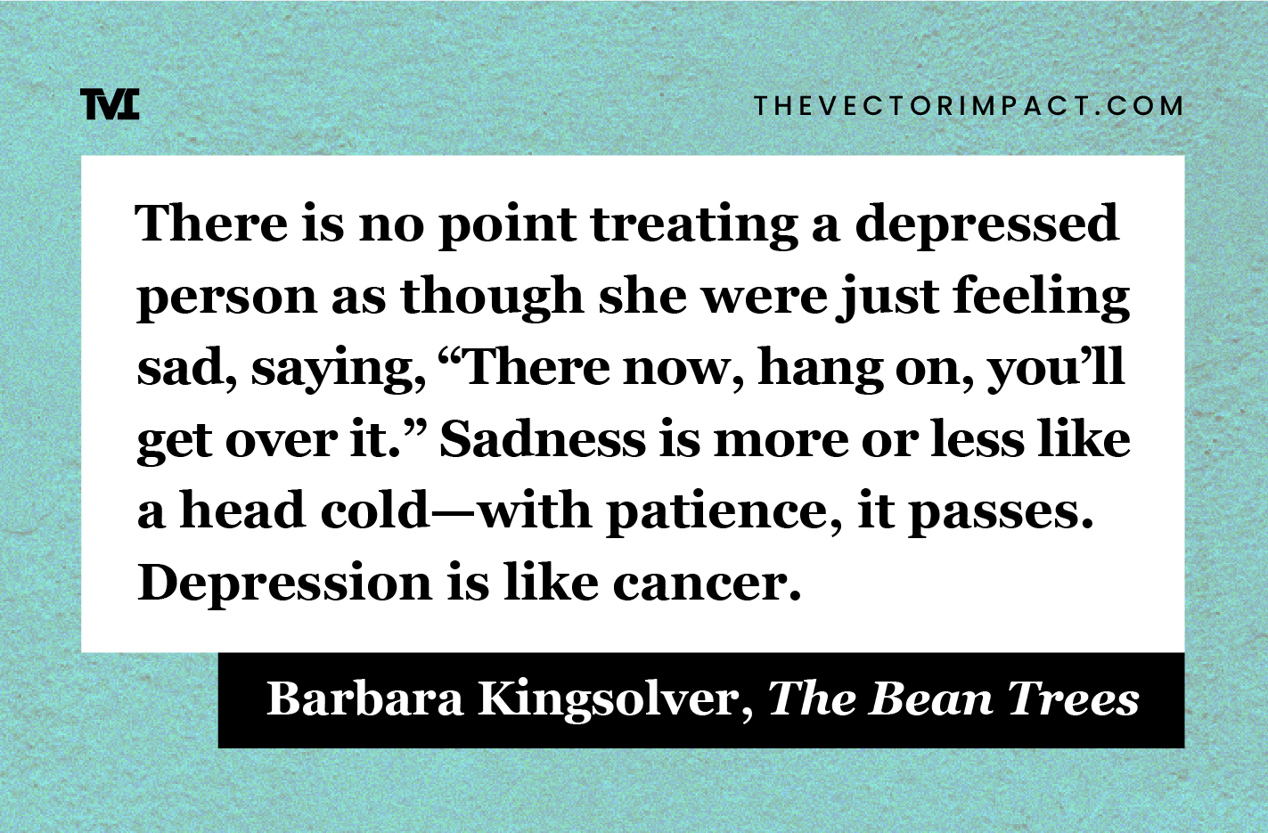 Barbara Kingsolver, The Bean Trees, quote about depression graphic