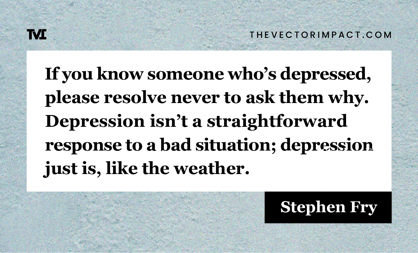 Stephen Fry quote about depression graphic