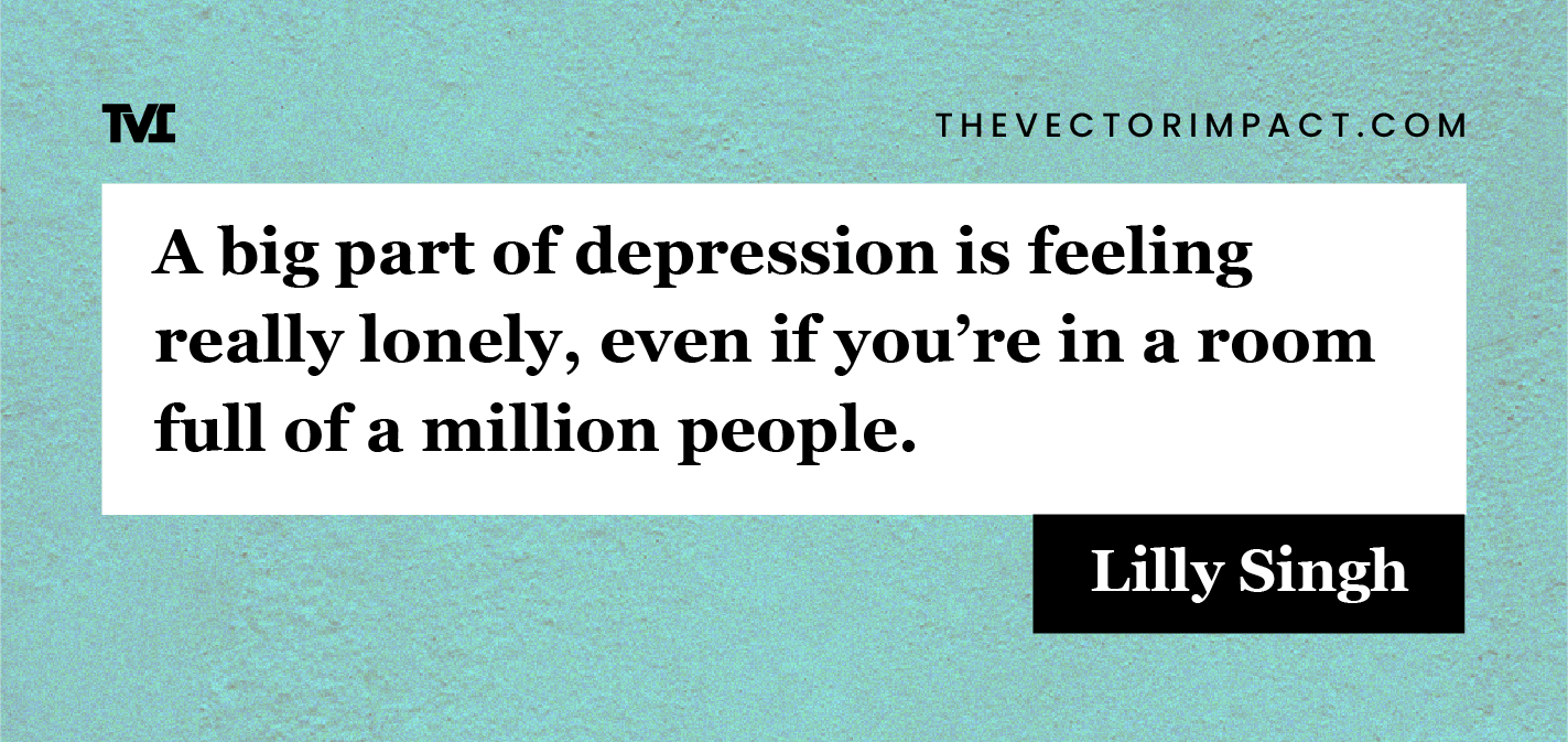 Lilly Singh quote about depression graphic