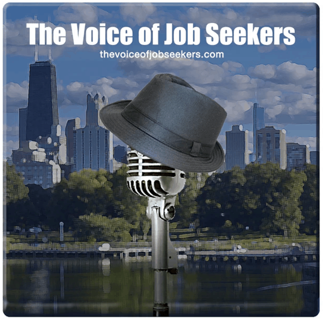 The Voice of Job Seekers podcast, showing a microphone with a hat, in front of a city backdrop