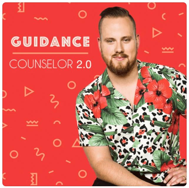 Guidance Counselor 2.0, Taylor Desseyn in Hawaiian shirt on loud red background